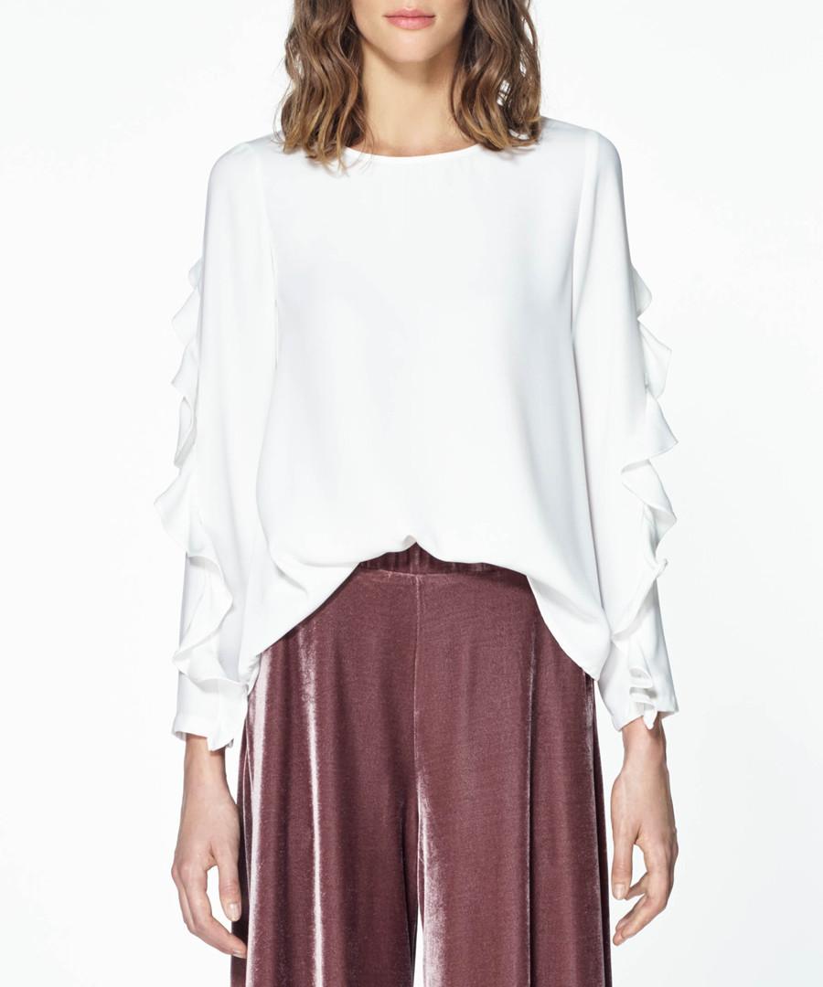 White ruffle sleeve top Sale - paisie