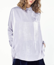 Lilac button back cape shirt