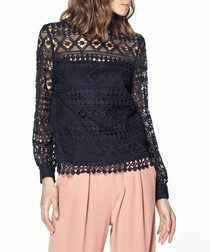 Black lace overlay blouse