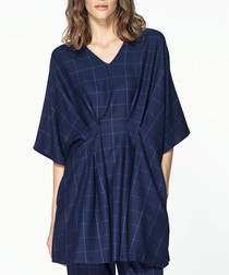 Multi check pleated waist top