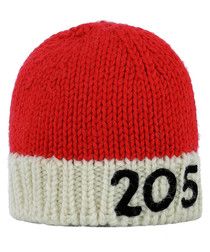 Red & white pure wool hat