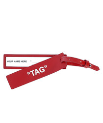 Red leather name tag
