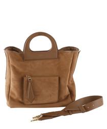 Tan lambskin, camel wool & silk grab bag