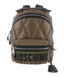 Brown nylon logo backpack