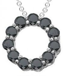 3ct black diamond & white gold pendant