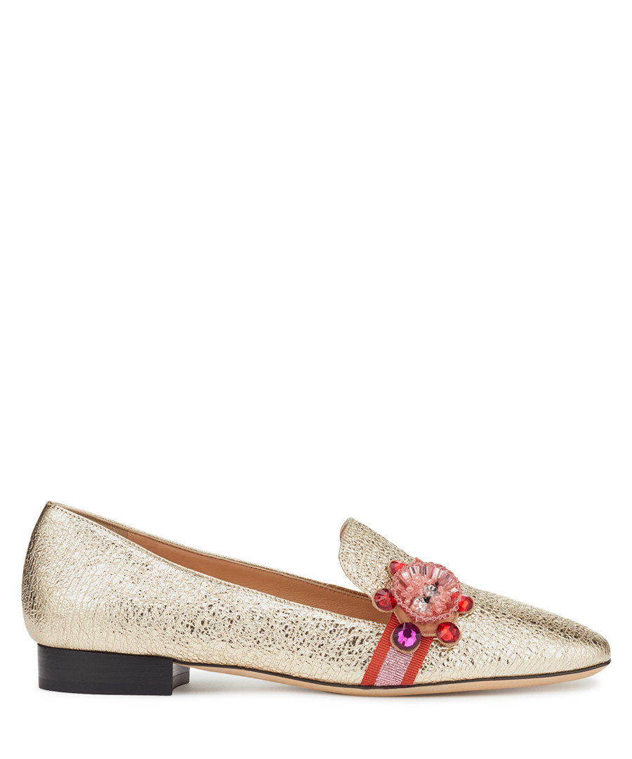 Gold-tone lambskin loafers Sale - anya hindmarch