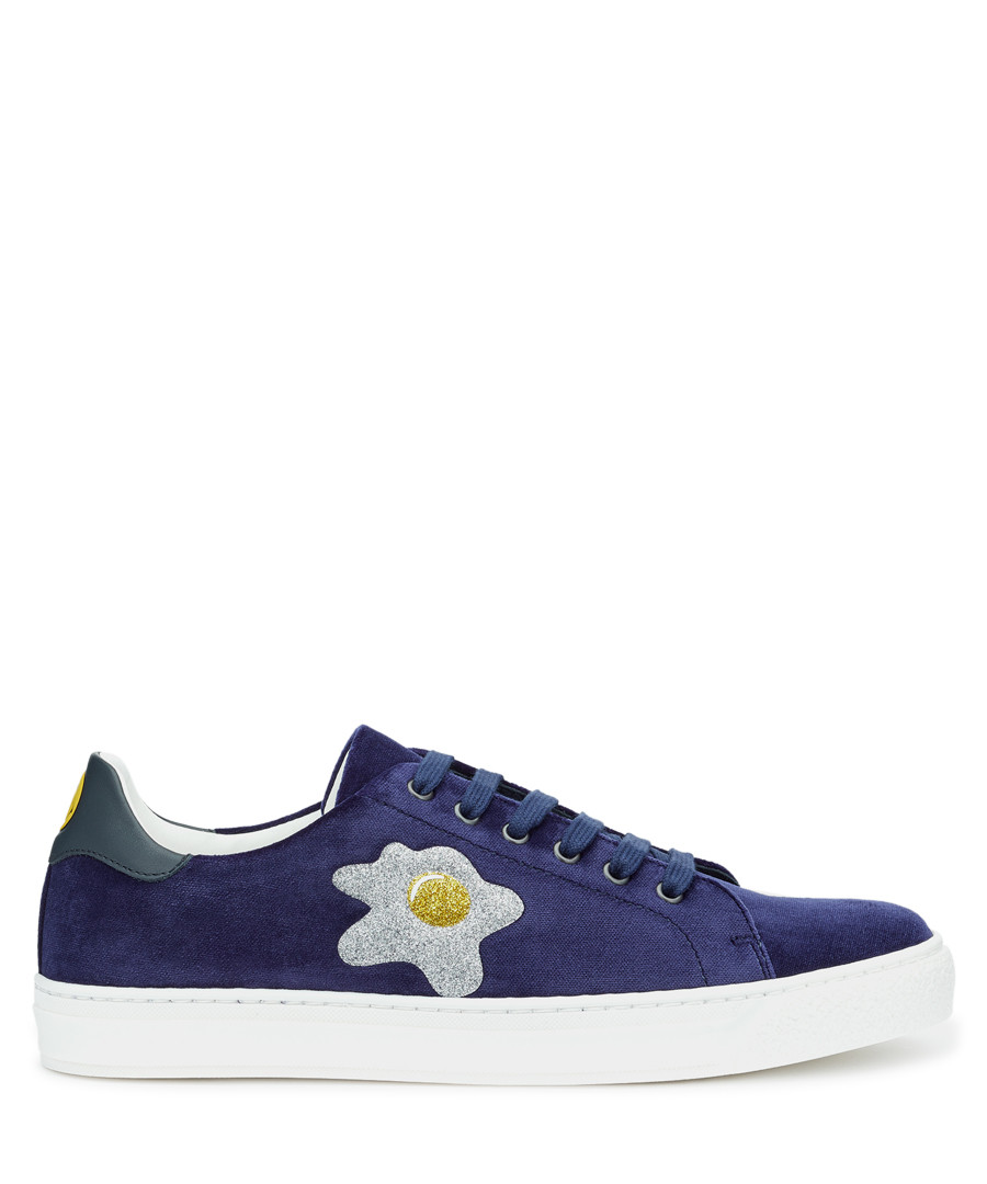 Indigo egg lace-up sneakers Sale - Anya Hindmarch