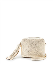 Smiley gold-tone leather coin purse
