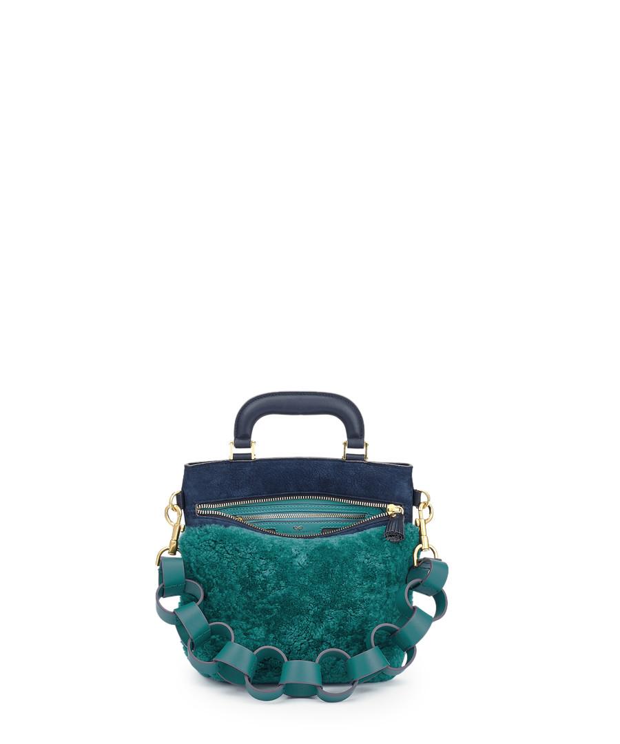 Orsett Mini teal leather grab bag Sale - anya hindmarch