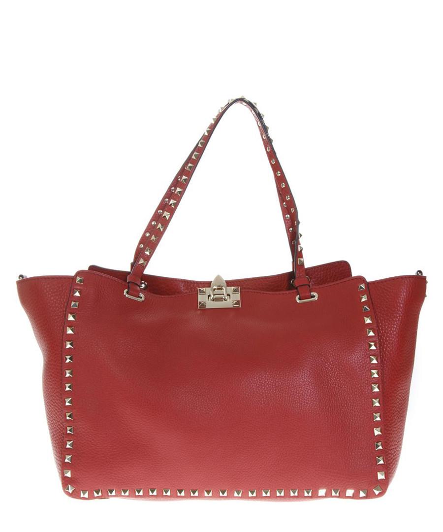 Red leather rockstud trapeze tote Sale - valentino garavani