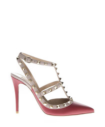 rockstud red leather pumps