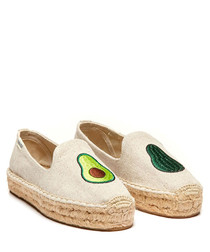 Natural pure cotton avocado espadrilles