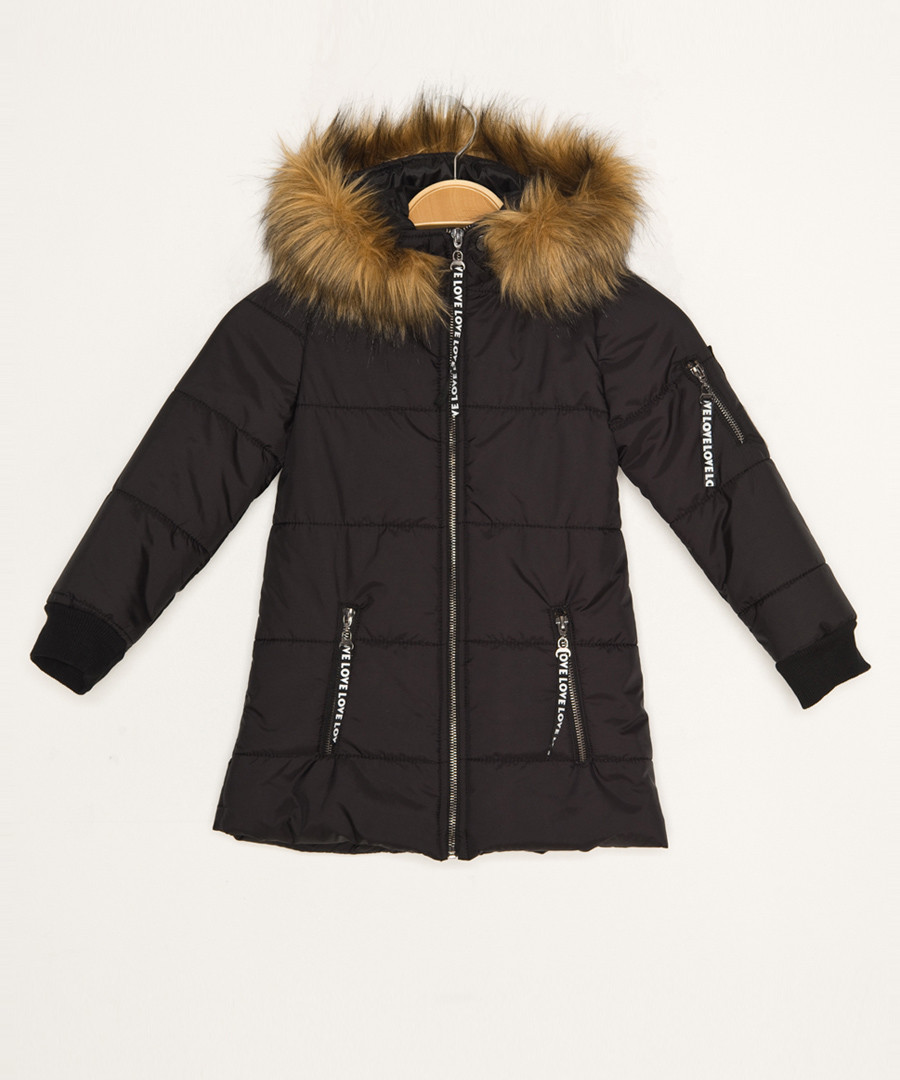 Girls' black hooded quilted coat Sale - Dewberry