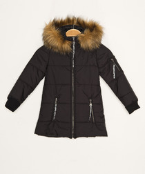Girls' black hooded quilted coat