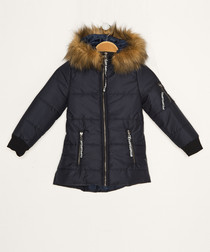 Girls' dark blue hooded quilted coat