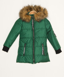 Girls' green hooded quilted coat