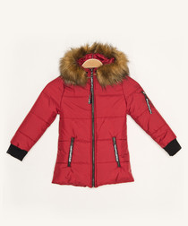 Girls' red hooded quilted coat