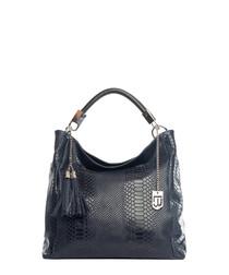 Dark blue leather moc-snake shoulder bag