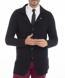 Navy button lapel cardigan