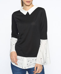 Black & white cotton blend collar jumper