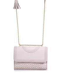 Pink textured leather shoulder bag