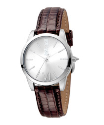 Silver-tone & brown leather watch