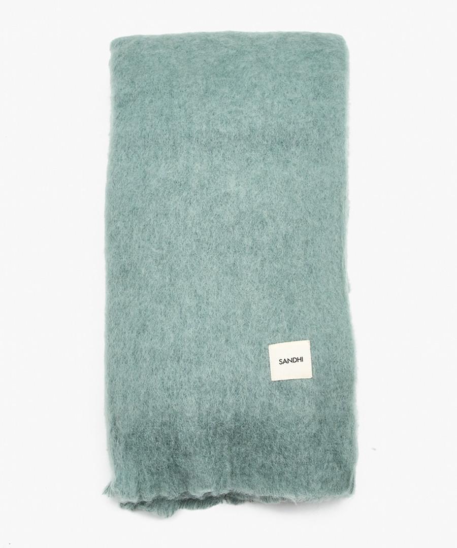 Turquoise mohair blend blanket Sale - Sandhi