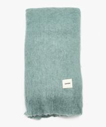 Turquoise mohair blend blanket