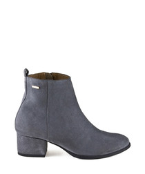 Grey suede zip ankle boots