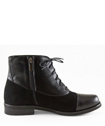 Black suede & leather lace-up boots
