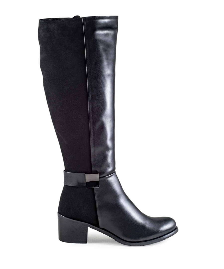 Black suede & leather knee high boots Sale - vanessa