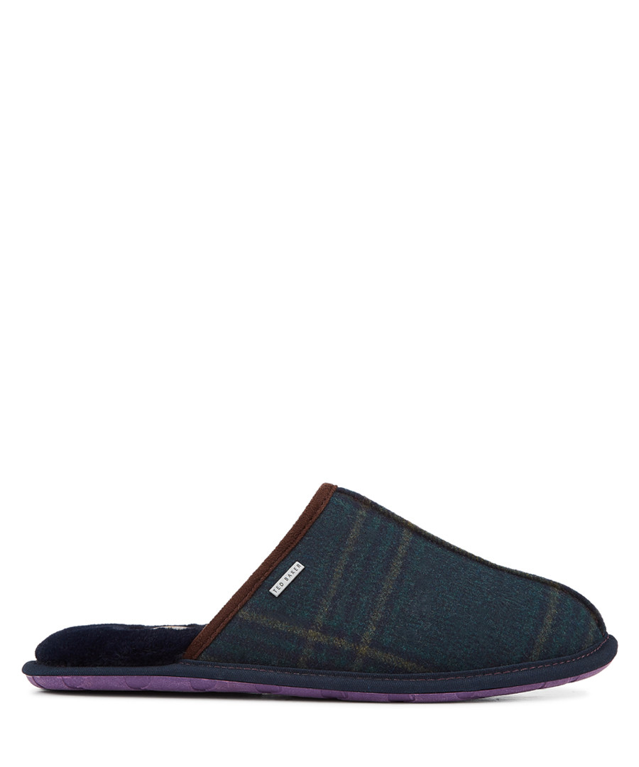 Dark blue & green check logo slippers Sale - ted baker