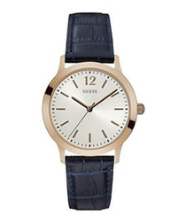 Gold plated & navy leather watch