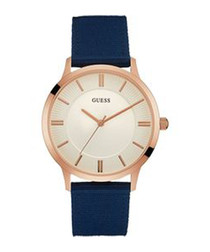 Escrow rose gold-tone & blue watch