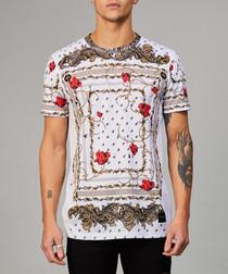 White & gold rose T-shirt