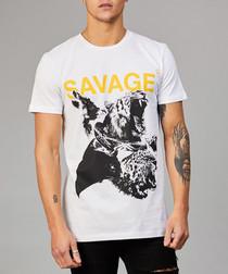 Black pure cotton savage print T-shirt