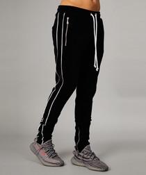 Black cotton blend zip joggers