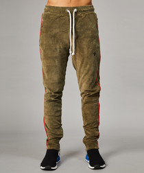 Olive cotton blend side stripe joggers