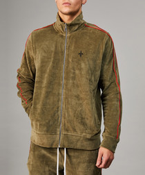 Olive & red cotton blend track jacket