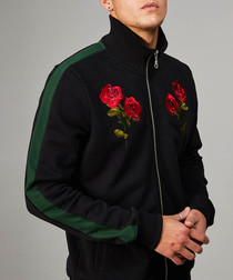 Black & pine pure cotton rose track top