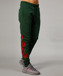 Olive pure cotton rose joggers