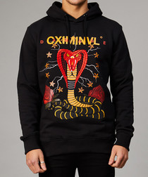 Black pure cotton python print hoodie