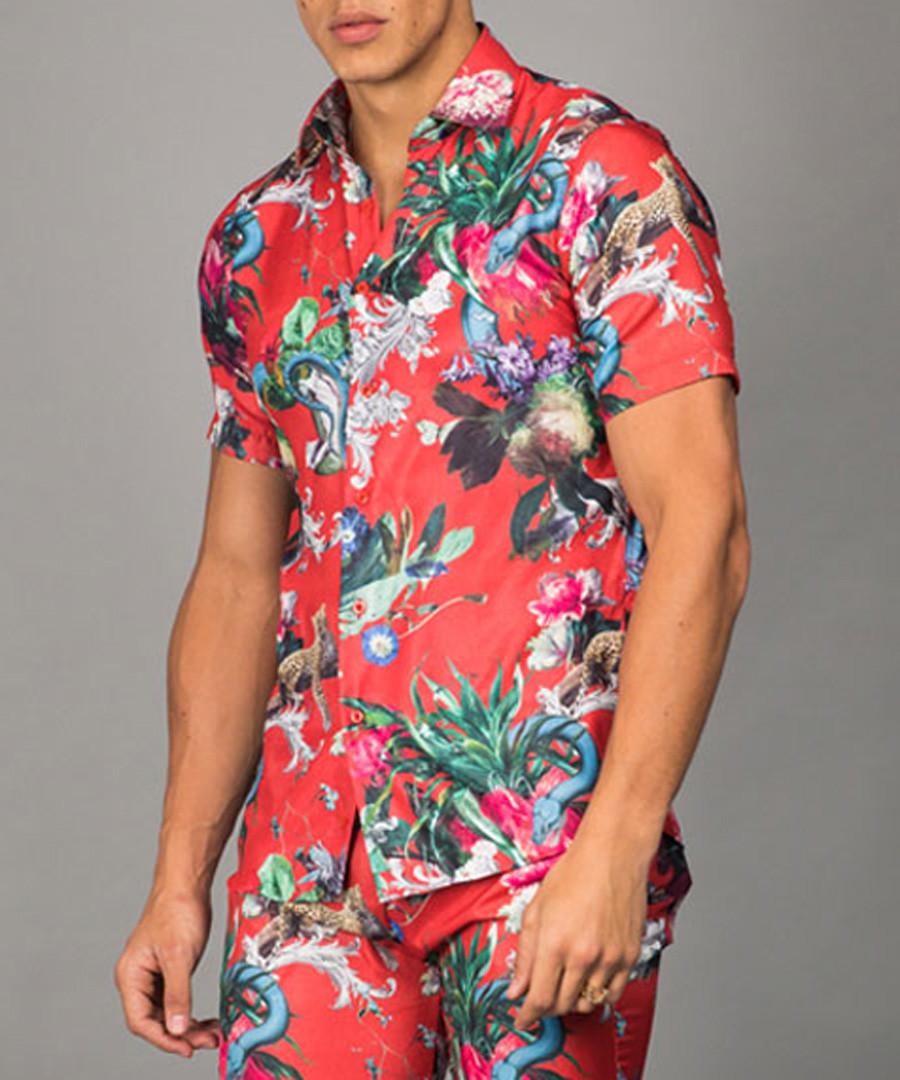Red short sleeve floral button shirt Sale - criminal damage