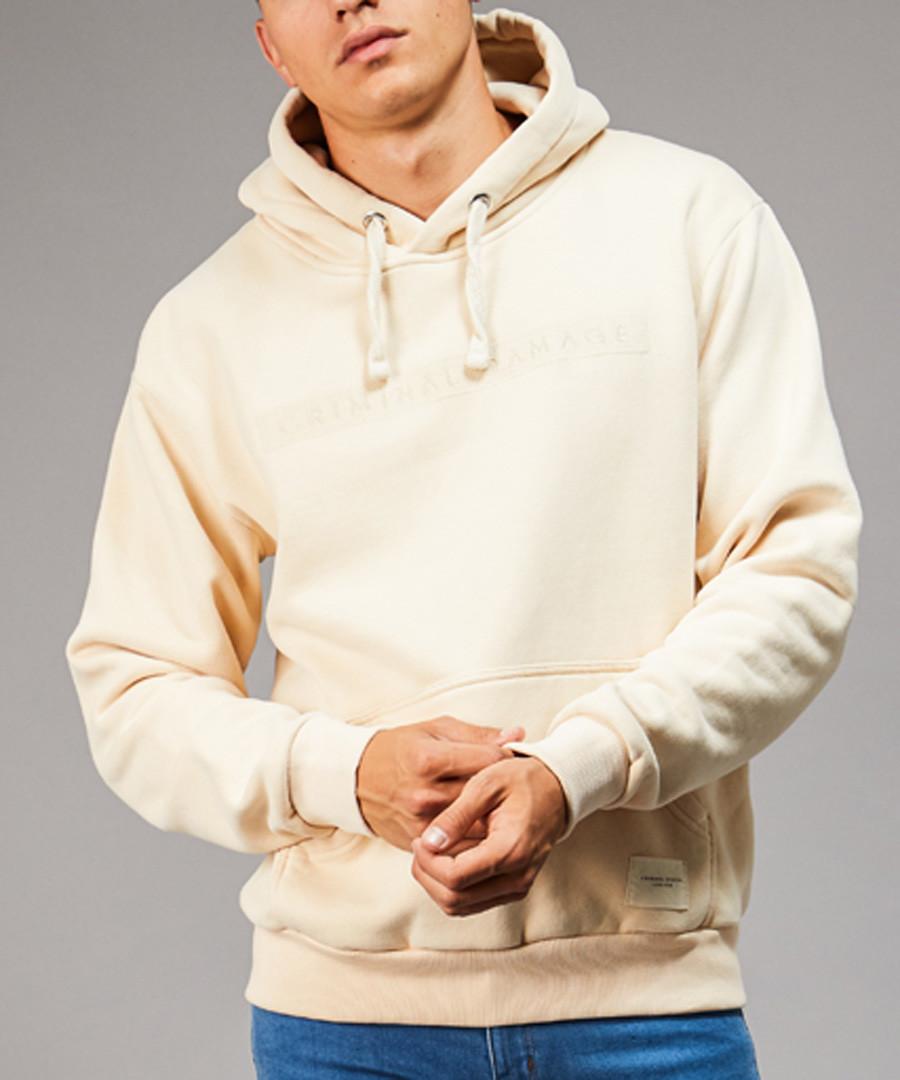 Pale yellow cotton blend hoodie Sale - criminal damage
