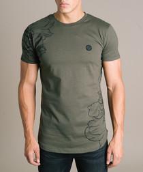 Olive pure cotton print T-shirt