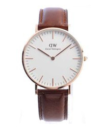 Rose-gold tone & brown leather watch