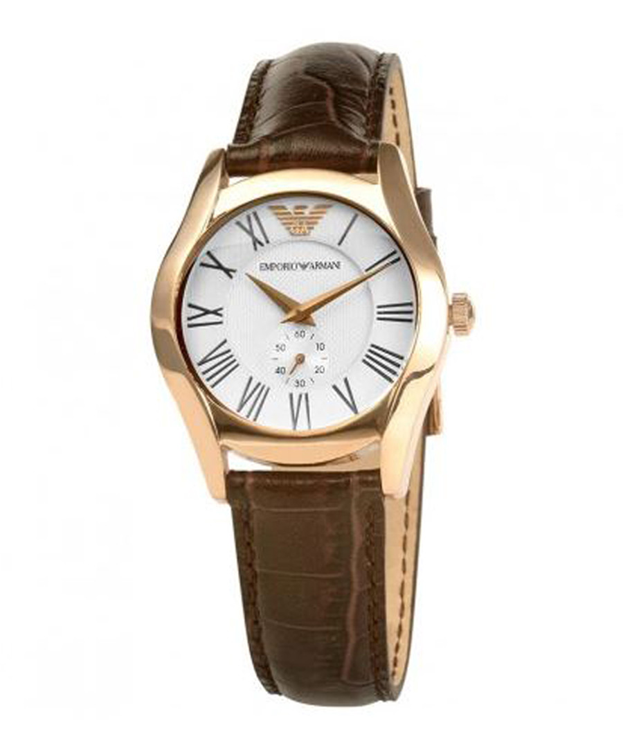 Rose gold-tone & brown leather watch Sale - emporio armani