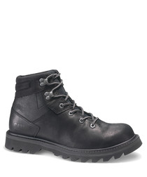 Exigent black leather lace-up boots