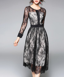 Black lace overlay 3/4 sleeve dress