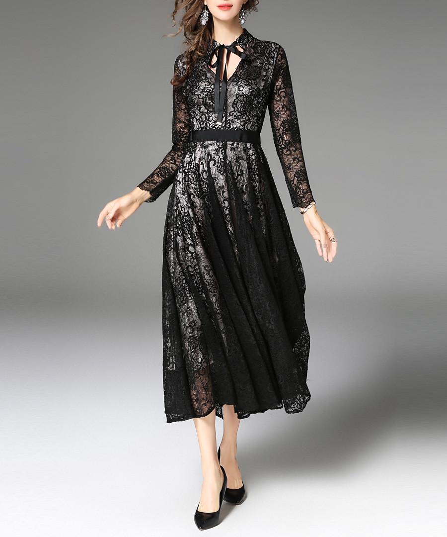 Black lace long sleeve midi dress Sale - Kaimilan